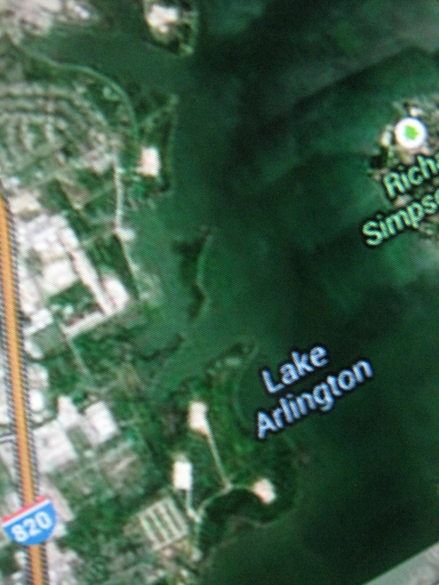 Those tan squares are padsites with storage tanks along Lake Arlington-our drinking water reservoir.