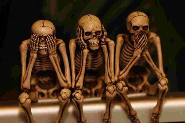 hear no see no speak no evil skeletons