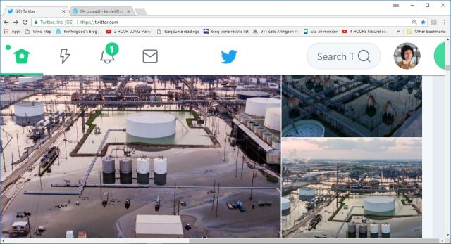 harvey refinery oil slicks
