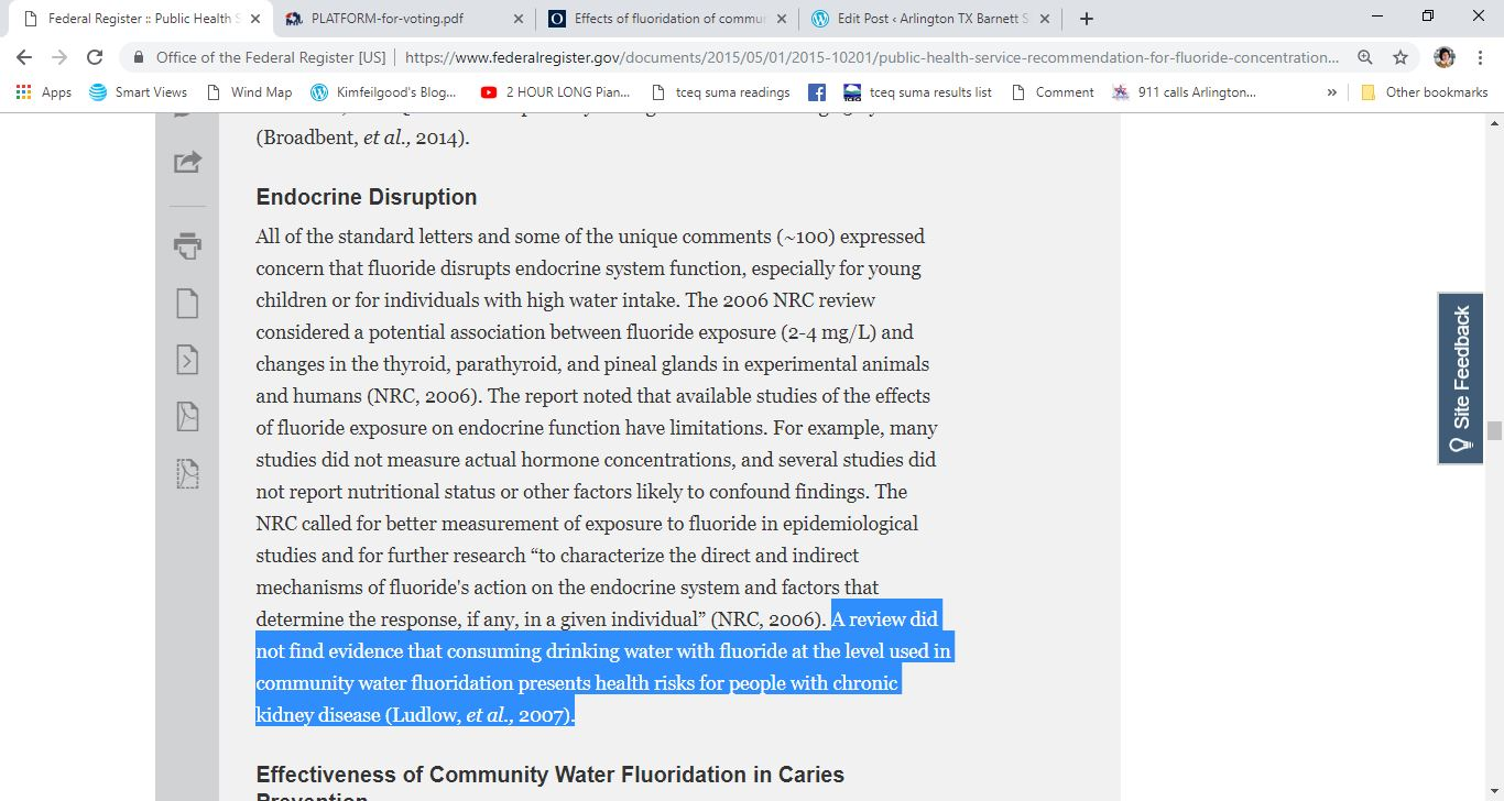 fluoride endocrine fed register missstatement