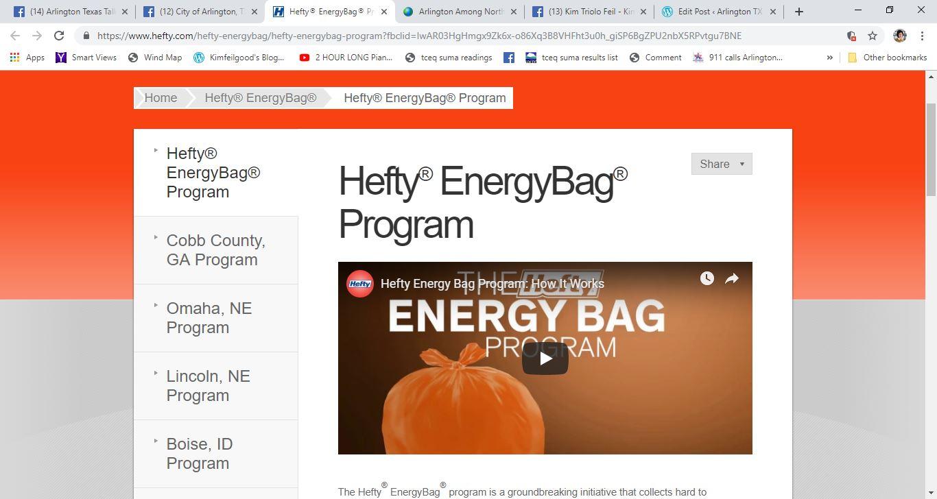 dow hefty energy bag kiln pollution arlington