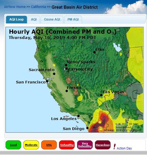east of San Diego May 16 aqi 4 pm